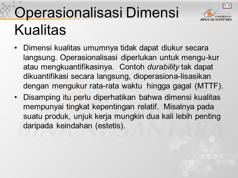 Dimensi Kualitas untuk Jasa Pelayanan (lanjutan) Dimensi kualitas sebaiknya dikembangkan dan diuji berdasar- kan industri-per-industri. Suatu industri