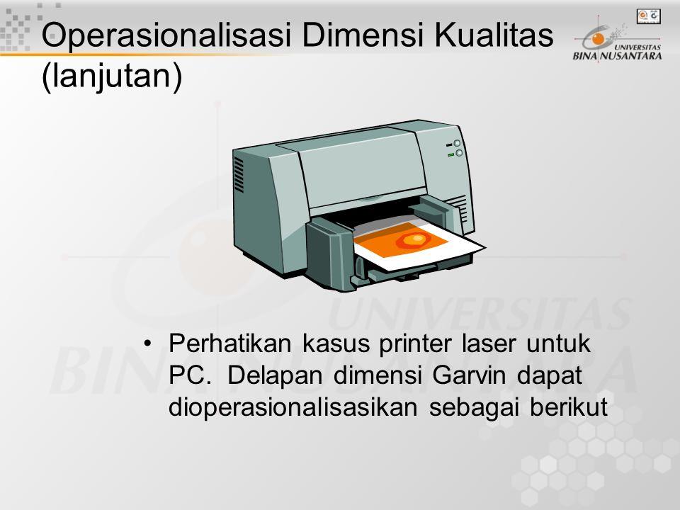 Operasionalisasi Dimensi Kualitas Dimensi kualitas umumnya tidak dapat diukur secara langsung. Operasionalisasi diperlukan untuk mengu-kur atau mengku