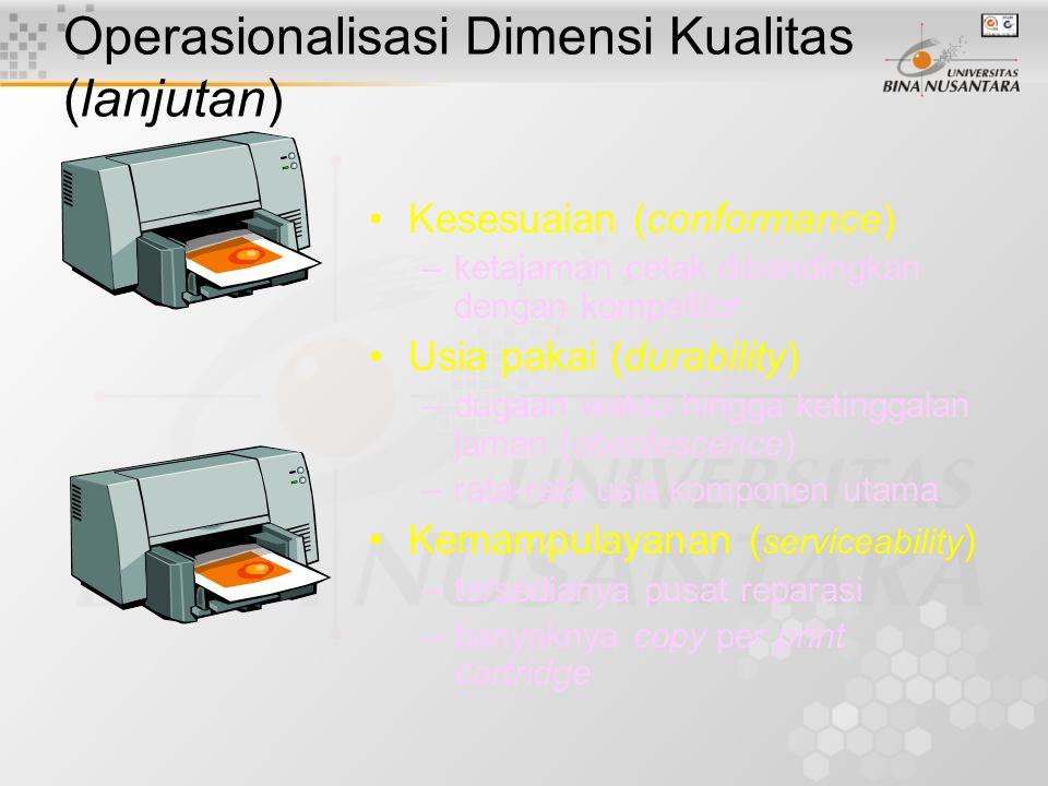Operasionalisasi Dimensi Kualitas (lanjutan) Unjuk kerja (performance) –Jumlah halaman per menit –Kepekatan cetak Features –Dilengkapi dengan penyangg