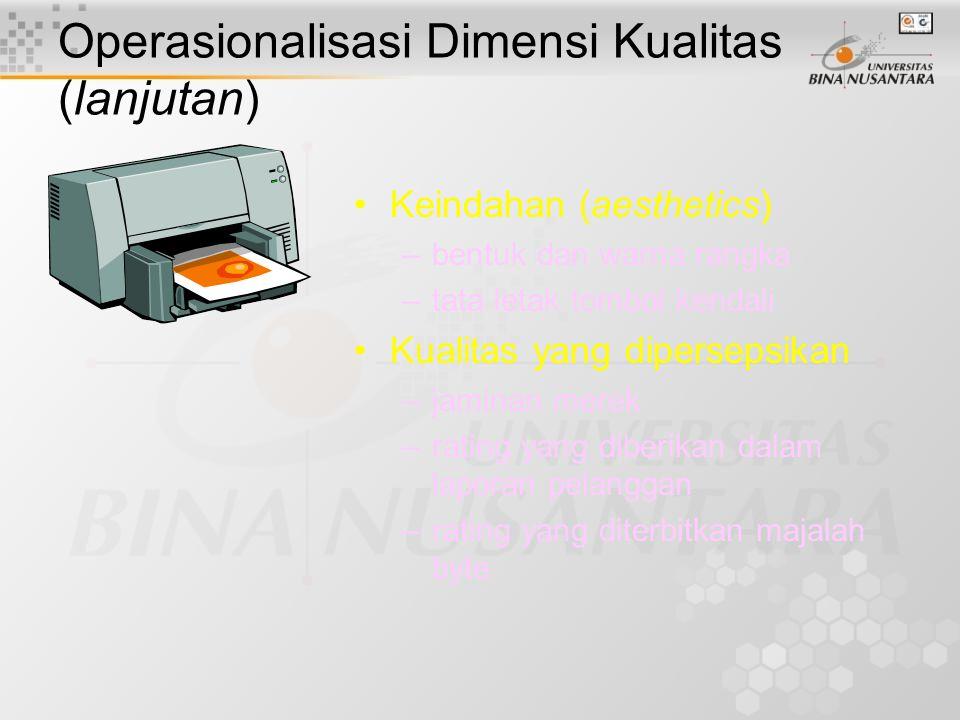Operasionalisasi Dimensi Kualitas (lanjutan) Kesesuaian (conformance) –ketajaman cetak dibandingkan dengan kompetitor Usia pakai (durability) –dugaan