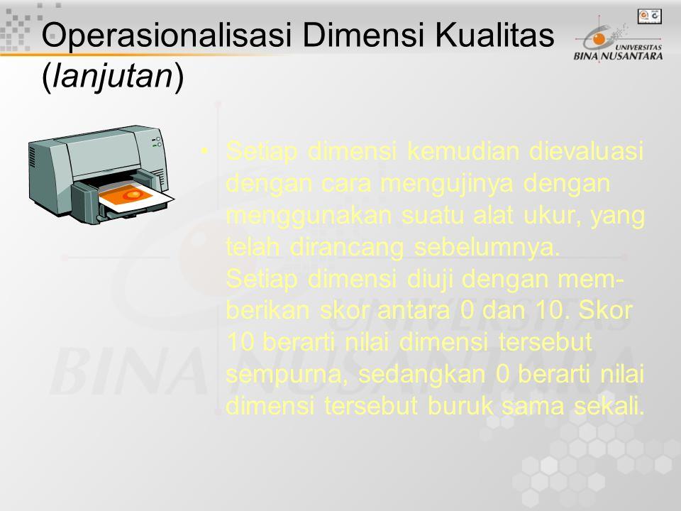 Operasionalisasi Dimensi Kualitas (lanjutan) Kepentingan relatif tiap-tiap dimensi dapat ditunjukkan dengan memberi- kan bobot, yang nilainya antara 0