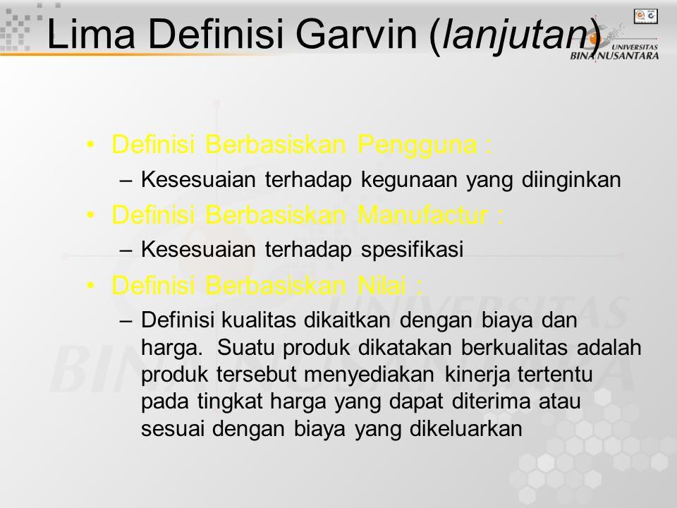 Lima Definisi Garvin (lanjutan) Definisi Berbasiskan Pengguna : –Kesesuaian terhadap kegunaan yang diinginkan Definisi Berbasiskan Manufactur : –Kesesuaian terhadap spesifikasi Definisi Berbasiskan Nilai : –Definisi kualitas dikaitkan dengan biaya dan harga.