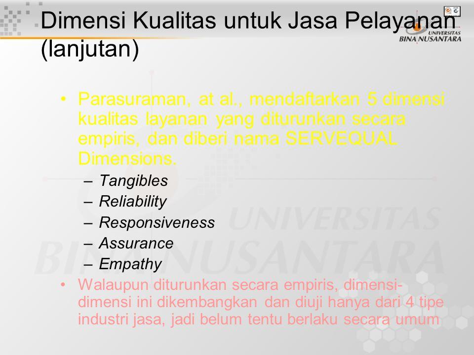 Dimensi Kualitas untuk Jasa Pelayanan (lanjutan) Parasuraman, at al., mendaftarkan 5 dimensi kualitas layanan yang diturunkan secara empiris, dan diberi nama SERVEQUAL Dimensions.