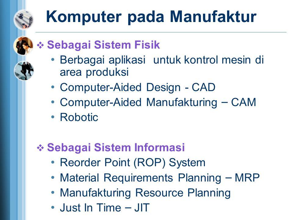 Komputer pada Manufaktur  Sebagai Sistem Fisik Berbagai aplikasi untuk kontrol mesin di area produksi Computer-Aided Design - CAD Computer-Aided Manufakturing – CAM Robotic  Sebagai Sistem Informasi Reorder Point (ROP) System Material Requirements Planning – MRP Manufakturing Resource Planning Just In Time – JIT