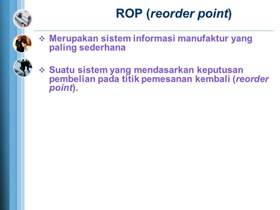 ROP (reorder point)  Merupakan sistem informasi manufaktur yang paling sederhana  Suatu sistem yang mendasarkan keputusan pembelian pada titik pemesanan kembali (reorder point).