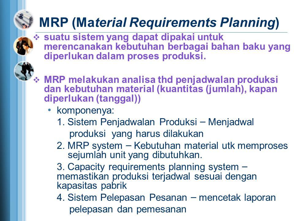 MRP (Material Requirements Planning)  suatu sistem yang dapat dipakai untuk merencanakan kebutuhan berbagai bahan baku yang diperlukan dalam proses produksi.