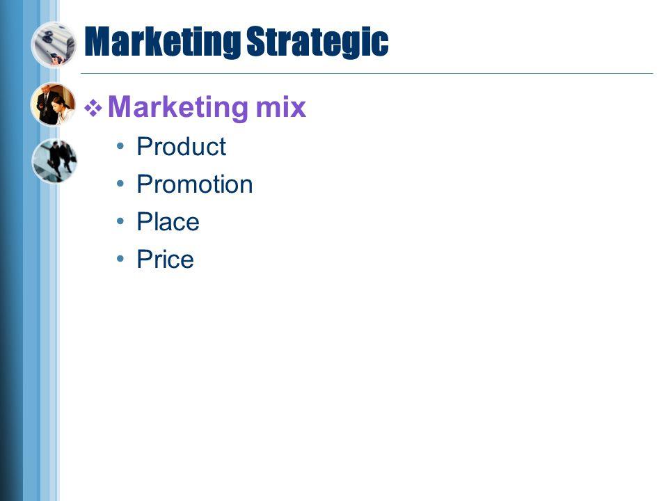 Marketing Strategic  Marketing mix Product Promotion Place Price