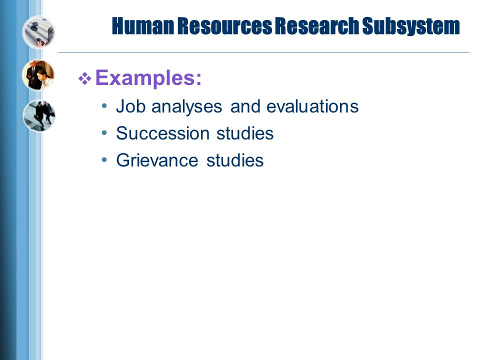 Human Resources Research Subsystem  Examples: Job analyses and evaluations Succession studies Grievance studies