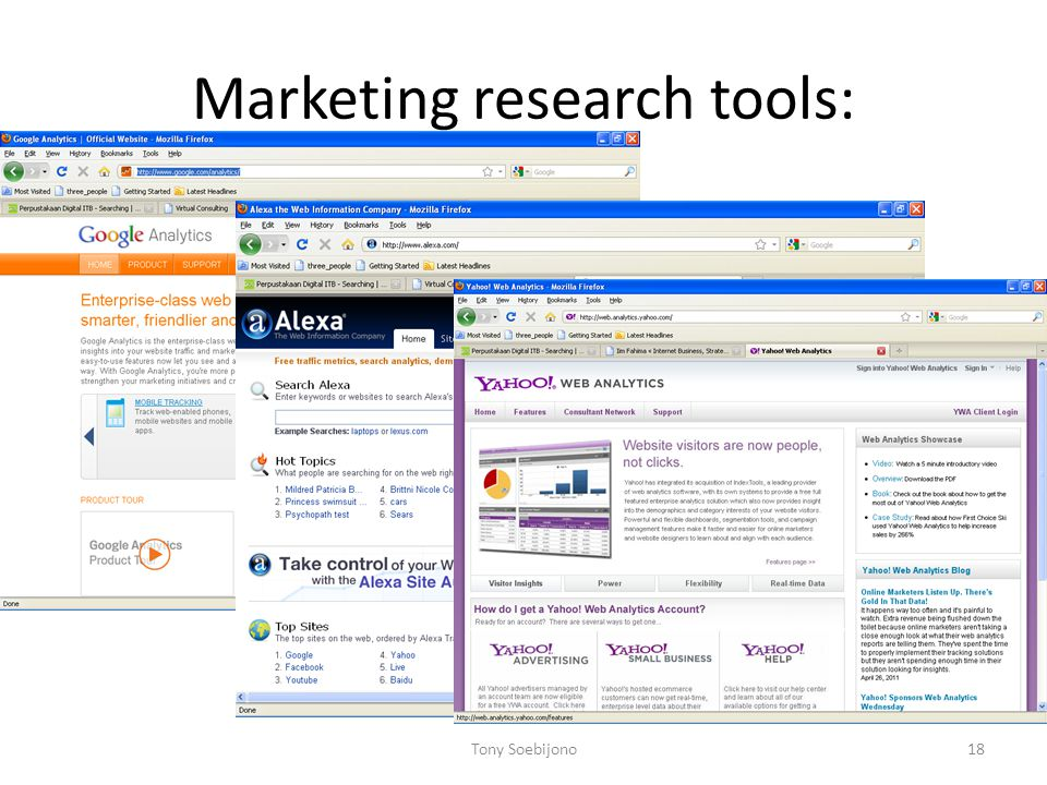 Marketing research tools: Tony Soebijono18