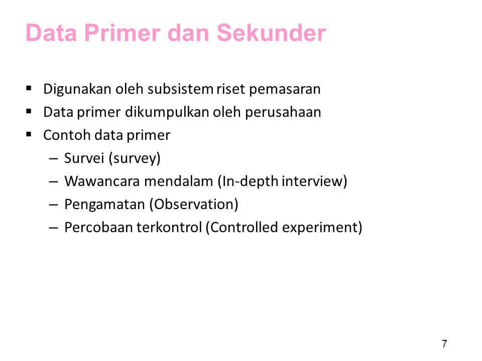Data Primer dan Sekunder  Digunakan oleh subsistem riset pemasaran  Data primer dikumpulkan oleh perusahaan  Contoh data primer – Survei (survey) –