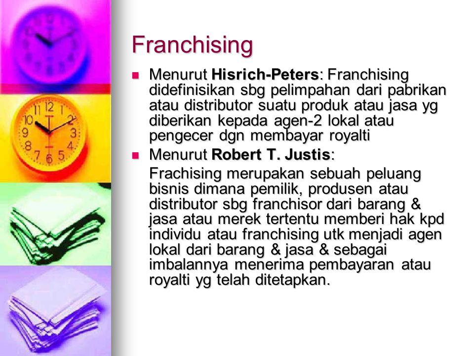 Franchising Menurut Hisrich-Peters: Franchising didefinisikan sbg pelimpahan dari pabrikan atau distributor suatu produk atau jasa yg diberikan kepada