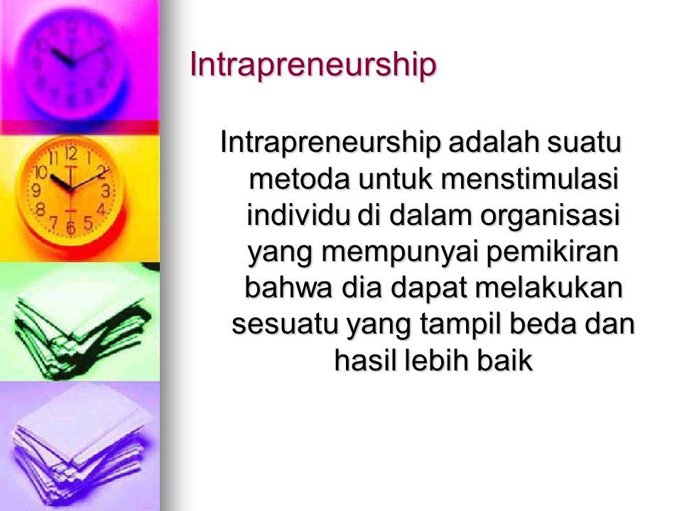 Intrapreneurship Intrapreneurship adalah suatu metoda untuk menstimulasi individu di dalam organisasi yang mempunyai pemikiran bahwa dia dapat melakuk