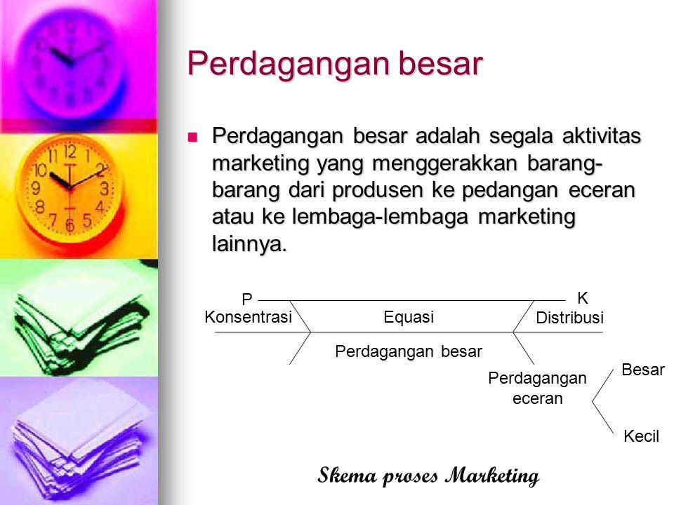 Perdagangan besar Perdagangan besar adalah segala aktivitas marketing yang menggerakkan barang- barang dari produsen ke pedangan eceran atau ke lembag