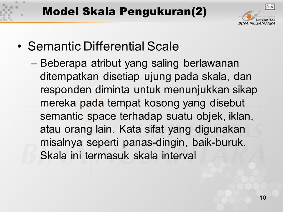 10 Model Skala Pengukuran(2) Semantic Differential Scale –Beberapa atribut yang saling berlawanan ditempatkan disetiap ujung pada skala, dan responden diminta untuk menunjukkan sikap mereka pada tempat kosong yang disebut semantic space terhadap suatu objek, iklan, atau orang lain.