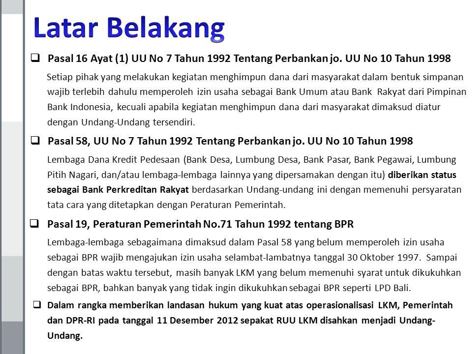  Pasal 16 Ayat (1) UU No 7 Tahun 1992 Tentang Perbankan jo. UU No 10 Tahun 1998 Setiap pihak yang melakukan kegiatan menghimpun dana dari masyarakat