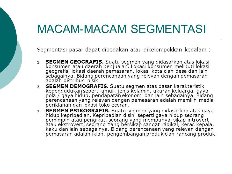 MACAM-MACAM SEGMENTASI Segmentasi pasar dapat dibedakan atau dikelompokkan kedalam : 1. SEGMEN GEOGRAFIS. Suatu segmen yang didasarkan atas lokasi kon