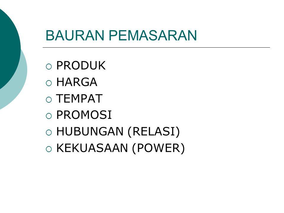  PRODUK  HARGA  TEMPAT  PROMOSI  HUBUNGAN (RELASI)  KEKUASAAN (POWER)