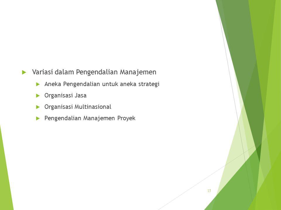  Variasi dalam Pengendalian Manajemen  Aneka Pengendalian untuk aneka strategi  Organisasi Jasa  Organisasi Multinasional  Pengendalian Manajemen
