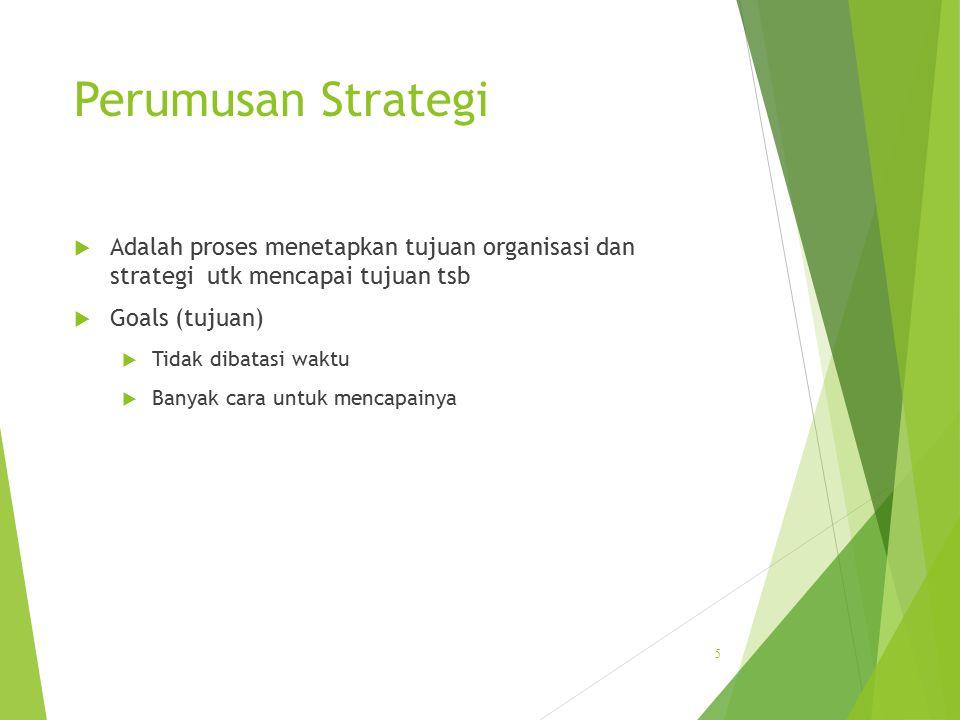 Perumusan Strategi  Adalah proses menetapkan tujuan organisasi dan strategi utk mencapai tujuan tsb  Goals (tujuan)  Tidak dibatasi waktu  Banyak