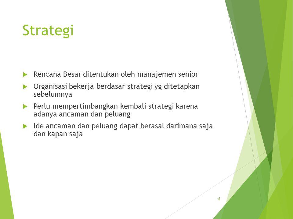 Strategi  Rencana Besar ditentukan oleh manajemen senior  Organisasi bekerja berdasar strategi yg ditetapkan sebelumnya  Perlu mempertimbangkan kem