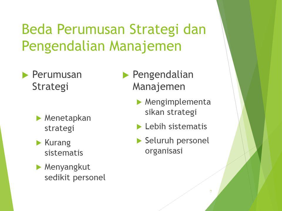 Beda Perumusan Strategi dan Pengendalian Manajemen  Perumusan Strategi  Menetapkan strategi  Kurang sistematis  Menyangkut sedikit personel  Peng
