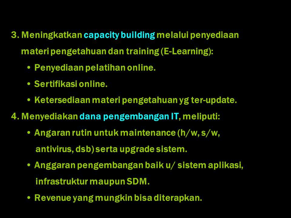 3. Meningkatkan capacity building melalui penyediaan materi pengetahuan dan training (E-Learning): Penyediaan pelatihan online. Sertifikasi online. Ke