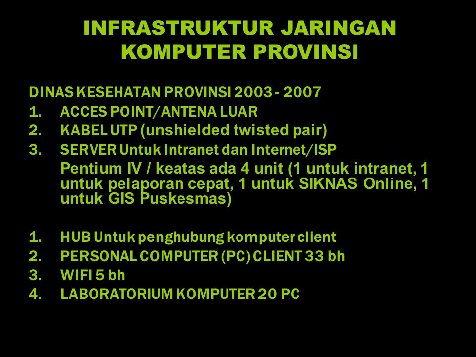 DINAS KESEHATAN PROVINSI 2003 - 2007 1.ACCES POINT/ANTENA LUAR 2.KABEL UTP (unshielded twisted pair) 3.SERVER Untuk Intranet dan Internet/ISP Pentium