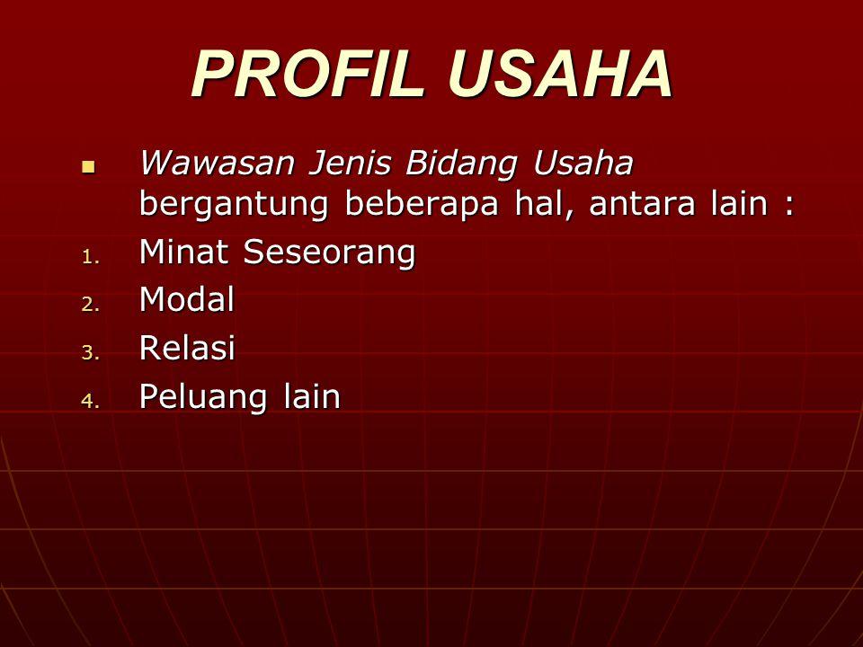PROFIL USAHA Wawasan Jenis Bidang Usaha bergantung beberapa hal, antara lain : Wawasan Jenis Bidang Usaha bergantung beberapa hal, antara lain : 1.