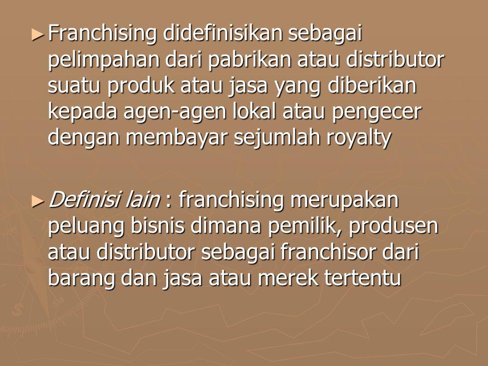 ► Franchising didefinisikan sebagai pelimpahan dari pabrikan atau distributor suatu produk atau jasa yang diberikan kepada agen-agen lokal atau pengecer dengan membayar sejumlah royalty ► Definisi lain : franchising merupakan peluang bisnis dimana pemilik, produsen atau distributor sebagai franchisor dari barang dan jasa atau merek tertentu