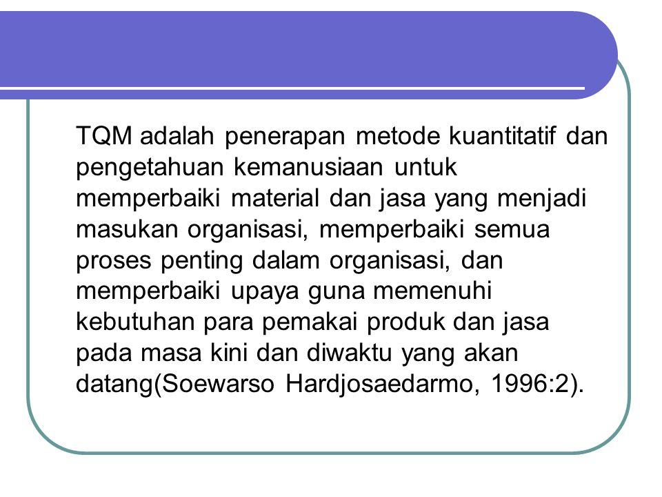 TQM adalah penerapan metode kuantitatif dan pengetahuan kemanusiaan untuk memperbaiki material dan jasa yang menjadi masukan organisasi, memperbaiki semua proses penting dalam organisasi, dan memperbaiki upaya guna memenuhi kebutuhan para pemakai produk dan jasa pada masa kini dan diwaktu yang akan datang(Soewarso Hardjosaedarmo, 1996:2).