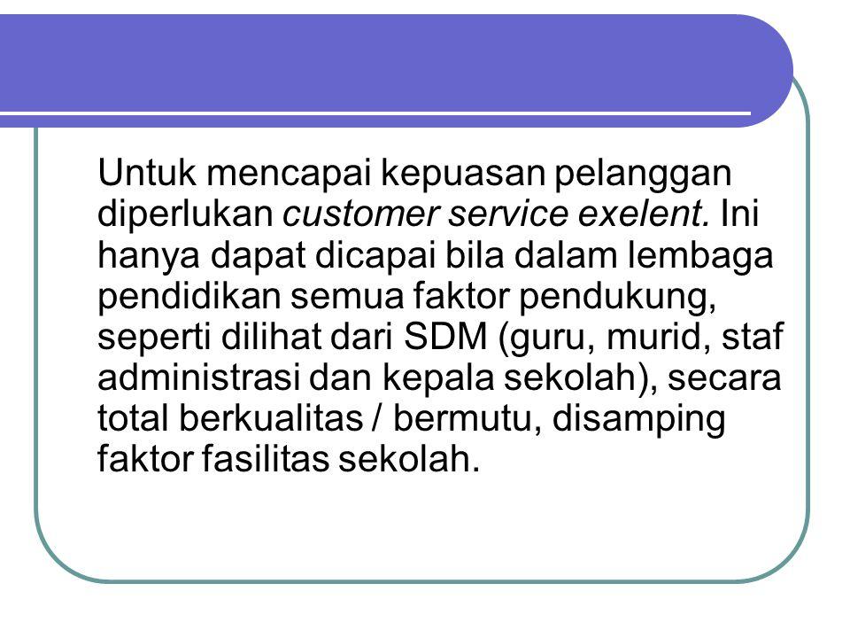 Untuk mencapai kepuasan pelanggan diperlukan customer service exelent. Ini hanya dapat dicapai bila dalam lembaga pendidikan semua faktor pendukung, s