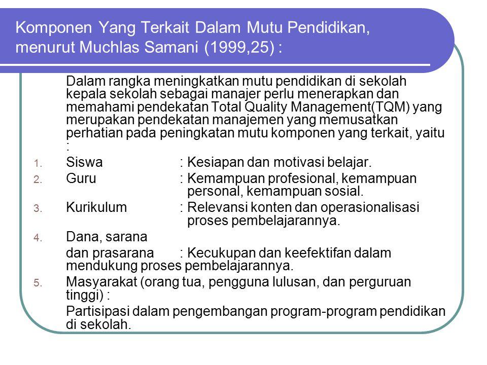 Pelanggan Sekolah 1.Pelanggan internal guru, pustakawan, laboran, teknisi dan tenaga administrasi.