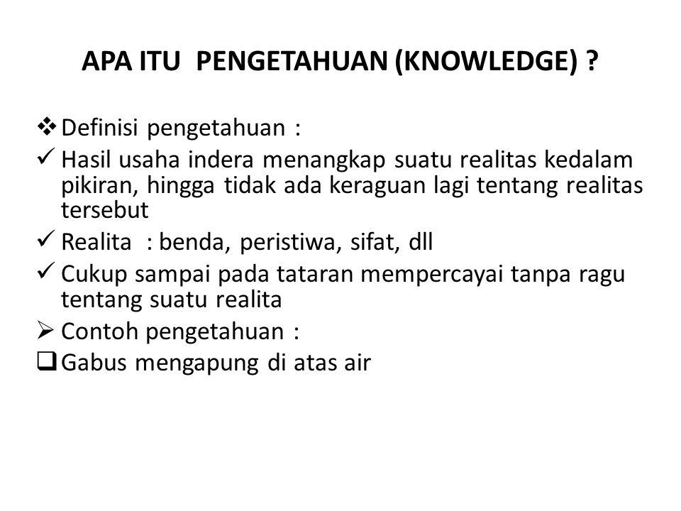 APA ITU PENGETAHUAN (KNOWLEDGE) .