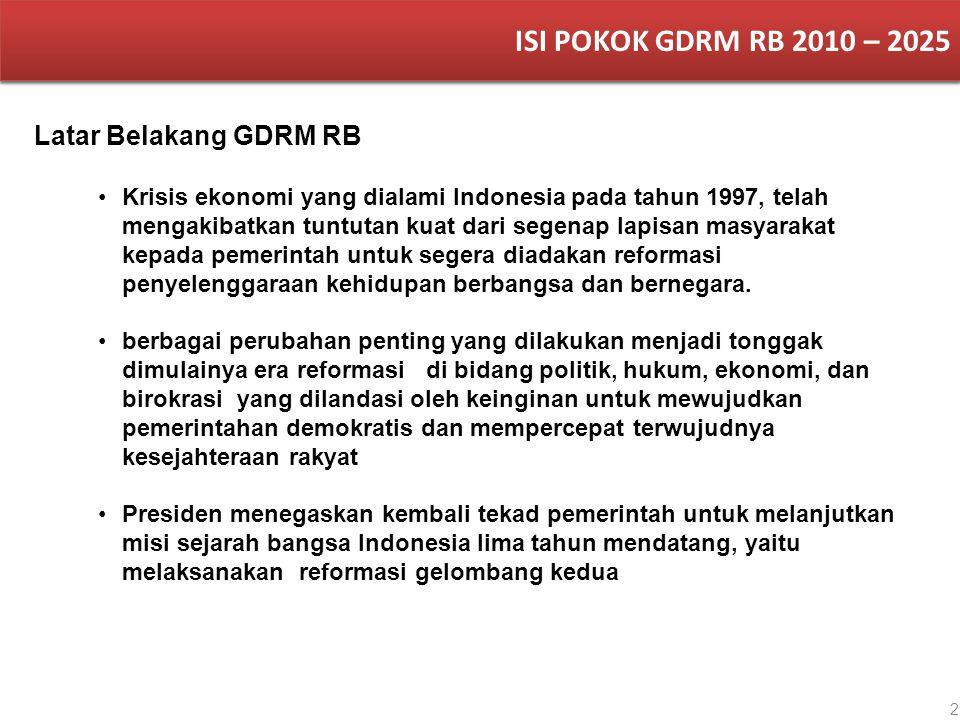 2 Latar Belakang GDRM RB ISI POKOK GDRM RB 2010 – 2025 Krisis ekonomi yang dialami Indonesia pada tahun 1997, telah mengakibatkan tuntutan kuat dari s