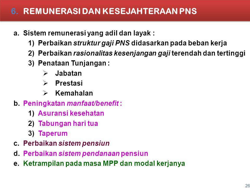 26 6.REMUNERASI DAN KESEJAHTERAAN PNS a.Sistem remunerasi yang adil dan layak : 1)Perbaikan struktur gaji PNS didasarkan pada beban kerja 2)Perbaikan