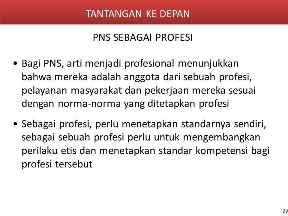 TANTANGAN KE DEPAN PNS SEBAGAI PROFESI Bagi PNS, arti menjadi profesional menunjukkan bahwa mereka adalah anggota dari sebuah profesi, pelayanan masya