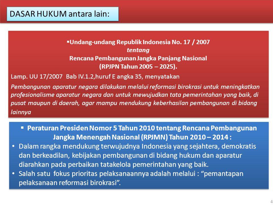 4  Undang-undang Republik Indonesia No. 17 / 2007 tentang Rencana Pembangunan Jangka Panjang Nasional (RPJPN Tahun 2005 – 2025). Lamp. UU 17/2007 Bab