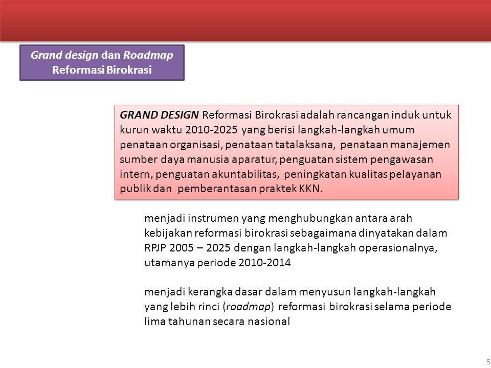 5 Grand design dan Roadmap Reformasi Birokrasi GRAND DESIGN Reformasi Birokrasi adalah rancangan induk untuk kurun waktu 2010-2025 yang berisi langkah