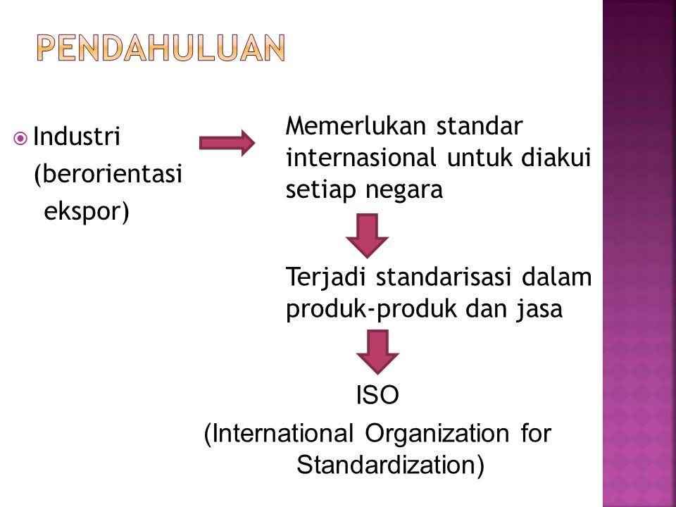  Industri (berorientasi ekspor) Memerlukan standar internasional untuk diakui setiap negara Terjadi standarisasi dalam produk-produk dan jasa ISO (In