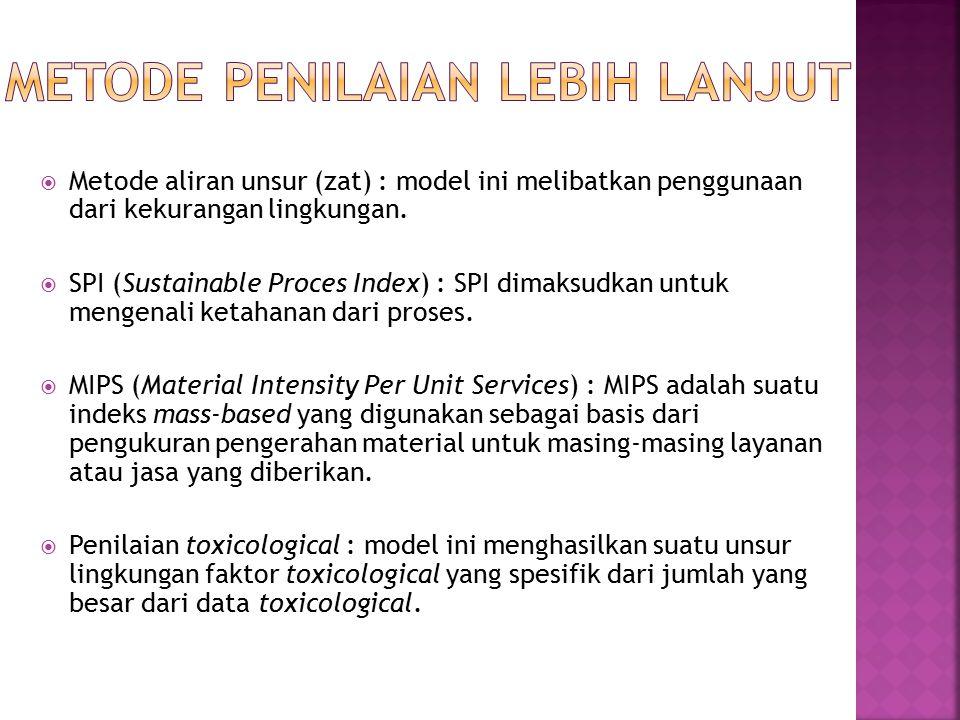 Metode aliran unsur (zat) : model ini melibatkan penggunaan dari kekurangan lingkungan.  SPI (Sustainable Proces Index) : SPI dimaksudkan untuk men