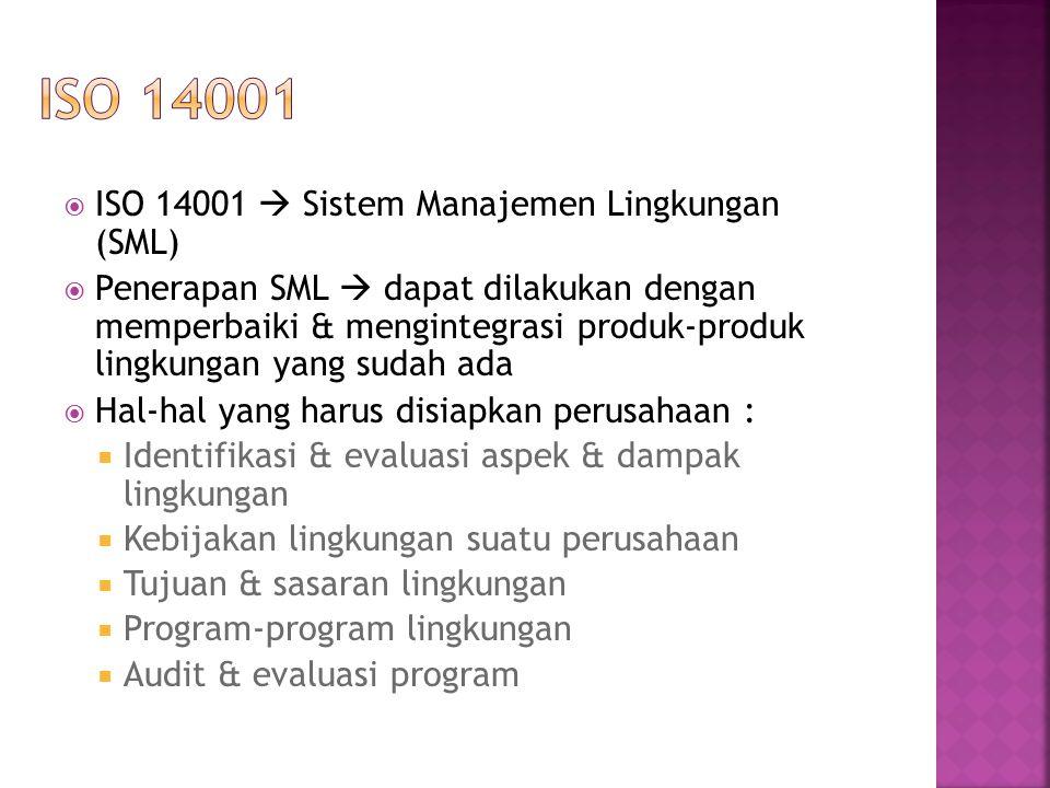  ISO 14001  Sistem Manajemen Lingkungan (SML)  Penerapan SML  dapat dilakukan dengan memperbaiki & mengintegrasi produk-produk lingkungan yang sud