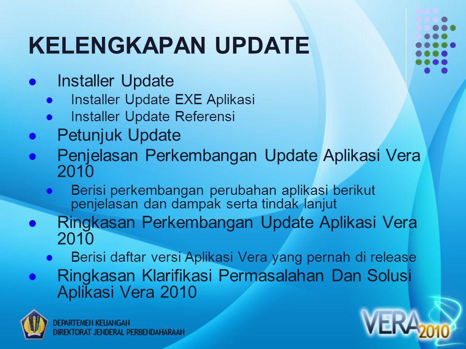 KELENGKAPAN UPDATE Installer Update Installer Update EXE Aplikasi Installer Update Referensi Petunjuk Update Penjelasan Perkembangan Update Aplikasi Vera 2010 Berisi perkembangan perubahan aplikasi berikut penjelasan dan dampak serta tindak lanjut Ringkasan Perkembangan Update Aplikasi Vera 2010 Berisi daftar versi Aplikasi Vera yang pernah di release Ringkasan Klarifikasi Permasalahan Dan Solusi Aplikasi Vera 2010