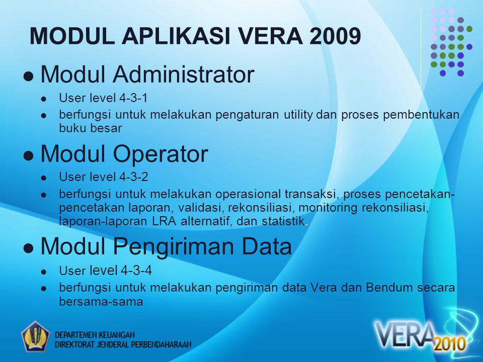 MODUL APLIKASI VERA 2009 Modul Administrator User level 4-3-1 berfungsi untuk melakukan pengaturan utility dan proses pembentukan buku besar Modul Ope