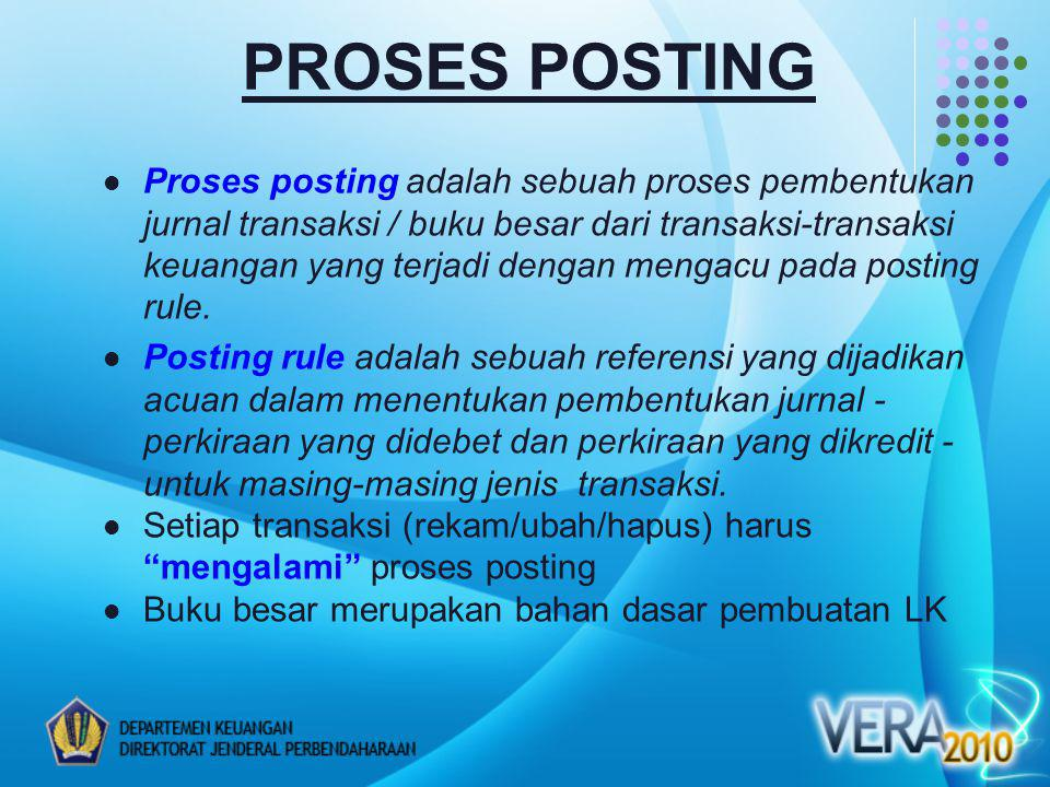 Proses posting adalah sebuah proses pembentukan jurnal transaksi / buku besar dari transaksi-transaksi keuangan yang terjadi dengan mengacu pada posting rule.