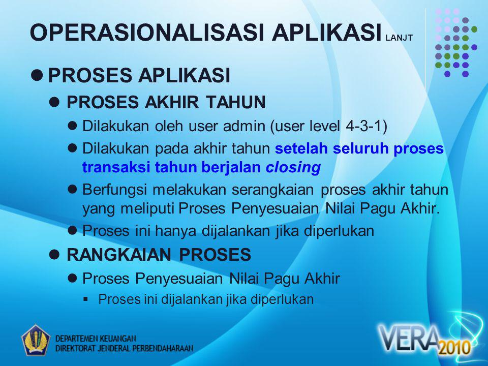 OPERASIONALISASI APLIKASI LANJT PROSES APLIKASI PROSES AKHIR TAHUN Dilakukan oleh user admin (user level 4-3-1) Dilakukan pada akhir tahun setelah sel