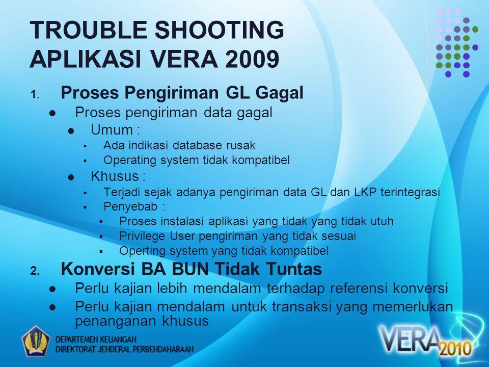 TROUBLE SHOOTING APLIKASI VERA 2009 1. Proses Pengiriman GL Gagal Proses pengiriman data gagal Umum :  Ada indikasi database rusak  Operating system
