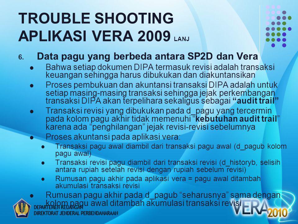 TROUBLE SHOOTING APLIKASI VERA 2009 LANJ 6. Data pagu yang berbeda antara SP2D dan Vera Bahwa setiap dokumen DIPA termasuk revisi adalah transaksi keu