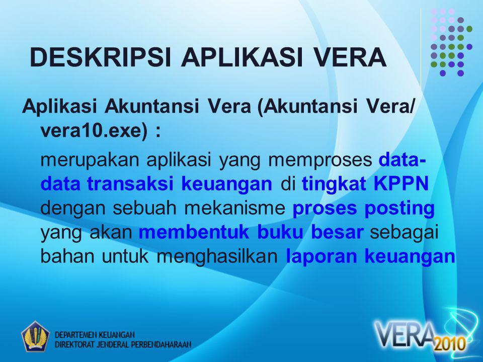 Aplikasi Akuntansi Vera (Akuntansi Vera/ vera10.exe) : merupakan aplikasi yang memproses data- data transaksi keuangan di tingkat KPPN dengan sebuah mekanisme proses posting yang akan membentuk buku besar sebagai bahan untuk menghasilkan laporan keuangan DESKRIPSI APLIKASI VERA