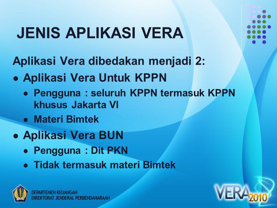 Aplikasi Vera dibedakan menjadi 2: Aplikasi Vera Untuk KPPN Pengguna : seluruh KPPN termasuk KPPN khusus Jakarta VI Materi Bimtek Aplikasi Vera BUN Pengguna : Dit PKN Tidak termasuk materi Bimtek JENIS APLIKASI VERA