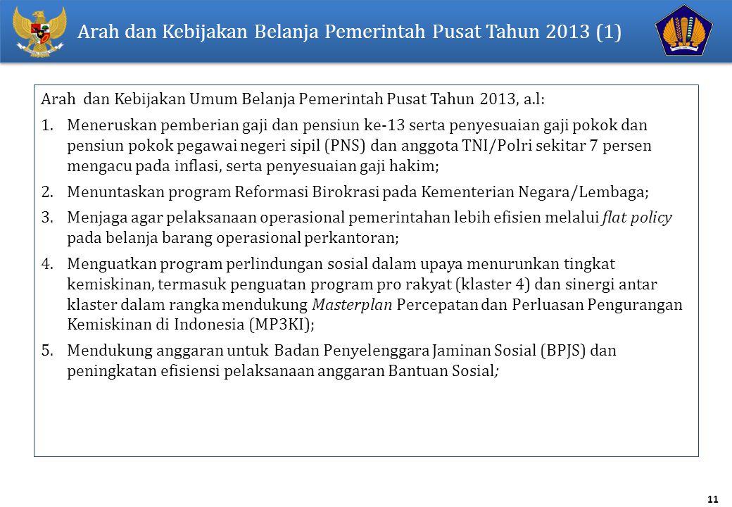 11 Arah dan Kebijakan Belanja Pemerintah Pusat Tahun 2013 (1) Arah dan Kebijakan Umum Belanja Pemerintah Pusat Tahun 2013, a.l: 1.Meneruskan pemberian gaji dan pensiun ke-13 serta penyesuaian gaji pokok dan pensiun pokok pegawai negeri sipil (PNS) dan anggota TNI/Polri sekitar 7 persen mengacu pada inflasi, serta penyesuaian gaji hakim; 2.Menuntaskan program Reformasi Birokrasi pada Kementerian Negara/Lembaga; 3.Menjaga agar pelaksanaan operasional pemerintahan lebih efisien melalui flat policy pada belanja barang operasional perkantoran; 4.Menguatkan program perlindungan sosial dalam upaya menurunkan tingkat kemiskinan, termasuk penguatan program pro rakyat (klaster 4) dan sinergi antar klaster dalam rangka mendukung Masterplan Percepatan dan Perluasan Pengurangan Kemiskinan di Indonesia (MP3KI); 5.Mendukung anggaran untuk Badan Penyelenggara Jaminan Sosial (BPJS) dan peningkatan efisiensi pelaksanaan anggaran Bantuan Sosial;